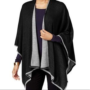 Charter Club tipped knit reversible Poncho black